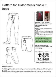 "Tudor hose (we call our modern equivalent ""tights"")"