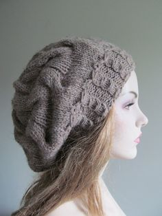 Grey Slouchy Hats Oversize Berets Baggy Beanie Gray by Lacywork