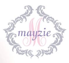"""Personalized Vinyl Wall Decal, Shabby Chic Monogram With Name And Initial Wall Art, Grey And Pink, 21""""Hx24 7/8""""W, A18 on Etsy, $41.00"""