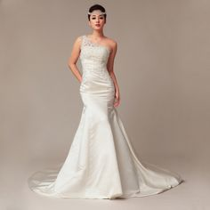 New arrival One Shoulder Satin bridal gown, love this trumpet look,I might take some in on my dress Wedding Dresses With Straps, Cute Wedding Dress, Fall Wedding Dresses, Colored Wedding Dresses, Wedding Looks, Wedding Attire, Dream Wedding, Tulle Wedding, Looks Style