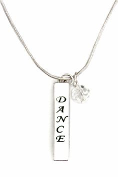 bar necklace lets her express her love for dance in 4 different ways 🎀 Bar Necklace, Dog Tag Necklace, Girls Dancewear, Dance Wear, Fashion Necklace, Charmed, Chain, Silver, Accessories
