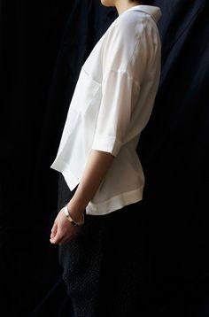 Studio Nicholson ( ENGLAND ) HALF SLEEVE SILK SHIRT www.lancah.com