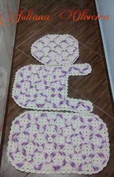Jogo de Banheiro Squares Lilás/Branco