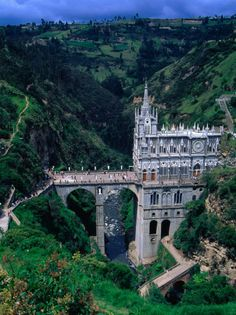 Columbia - Santuario de Nuestra Senora de las Lajas, church built on bridge over gorge of the Guaitara River, Colombia Places Around The World, Oh The Places You'll Go, Places To Travel, Travel Destinations, Places To Visit, Around The Worlds, South America Travel, Place Of Worship, Kirchen