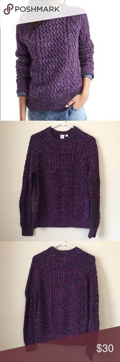 NWT GAP Purple Mark Wavy Cable Knit Sweater Medium Soft and textured cable knit sweater with long raglan sleeves and ribbed cuffs and hem. Ribbed crewneck. Purple marl knit. 100% cotton. New with tags. Size medium. GAP Sweaters Crew & Scoop Necks