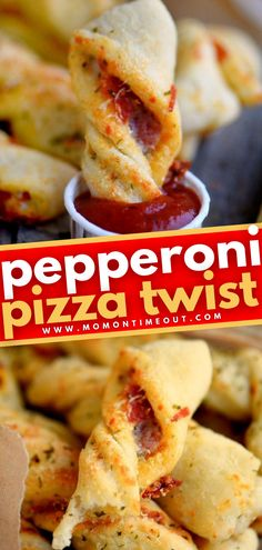 Pepperoni Pizza Twists are sure to become a family favorite! This food idea has everything you could ask for – can be made ahead, handheld, and dippable. With just a quick trip to the oven, you can have an impressive game day appetizer or even a fun, kid-friendly dinner! Game Day Appetizers, Appetizer Recipes, Simple Recipes, Healthy Recipes, Pizza Twists, Yummy Snacks, Yummy Food, Roll Ups Recipes, Kid Friendly Dinner