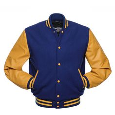 Royal Blue Wool and Gold Leather Letterman Jacket - C135 ❤ liked on Polyvore featuring outerwear, jackets, letterman jacket, blue varsity jacket, varsity letter jackets, genuine leather jackets and gold jacket
