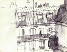 croquis urbain Illustration Parisienne, Paris Illustration, Photo Images, Urban Sketchers, Doodle Drawings, Cubism, Nocturne, Art Sketchbook, Amazing Architecture