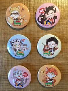 3rd Gym Button set~ (゚3゚)~♪  These are 44mm (1.73) buttons! Each button is $2 and if buy a whole set for $12, you can get 1 BONUS badge --> the niku niku button ! (see image 3)