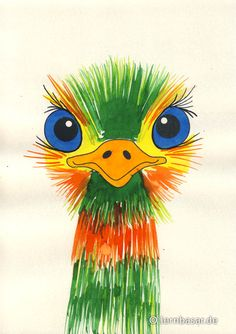 Bunter Emu with instructions to do in art class Arts And Crafts Storage, Arts And Crafts For Teens, Art For Kids, Emu, Cartoon Faces Expressions, Kids Watercolor, 3rd Grade Art, Art Hub, Ecole Art