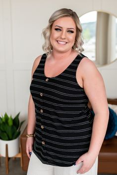 """This tank is another winner in our book. The material is an absolute dream, that button front detail is so fun, and we love the fabric weight, which makes it perfect for those warm summer days. 68% Polyester 32% Rayon Made in the USA Soft, textured fabric Faux button detail Scoop neck Great stretch Fits true to size Clothing Measurements: Small: Chest: 36"""" Length: 24""""Medium: Chest: 38"""" Length: 25""""Large: Chest: 40"""" Length: 26""""1XL: Chest: 42"""" Length: 27""""2XL: Chest: 44"""" Length: 28""""3XL: Chest… Black Sleeveless Top, Womens Sleeveless Tops, Business Outfits, Business Casual, Curvy Fashion, Plus Size Fashion, Short Wavy Hair, Fall Outfits For Work, Size Clothing"""