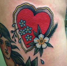 Traditional, saturated red heart and flowers by Cassandra Frances, London.
