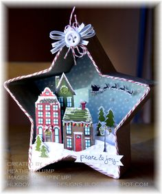 Beautiful ornament by Heather Klump. This ornament uses the Holiday Homes from the 2014 Holiday Catalogue Christmas Shadow Boxes, Stampin Up Christmas, Noel Christmas, Christmas Paper, Handmade Christmas, Vintage Christmas, Christmas Ornaments, Christmas Projects, Holiday Crafts