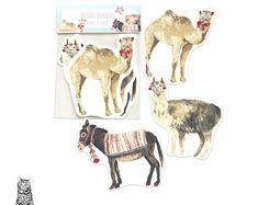 Surface Pattern Designs by TasherellaKitty on Etsy Desert Buddies Vinyl Stickers - Llama Camel and Donkey Pattern Designs, Surface Pattern Design, Stationary Supplies, Donkey, Camel, Moose Art, Artisan, Stickers, Cool Stuff