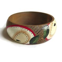 """This is a wonderful Artisan Hand Painted Wood Bangle Bracelet #Vintage Artist Signed!  This bracelet measures slightly more than 2 1/2"""" across and 1 1/8"""" wide.  Bracelet has... #vintage #jewelry #ecochic #vogueteam"""