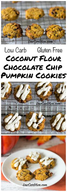 these delicious low carb gluten free coconut flour chocolate chip pumpkin cookies. They are perfect for snacking or sharing over the holidays. LCHF Keto THM recipe.
