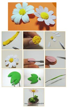 Turorial : How to make a flower clay / Tutoriel : Réaliser une fleur en pâte polymère source : http://blog.naver.com/PostList.nhn?blogId=shinanda1219