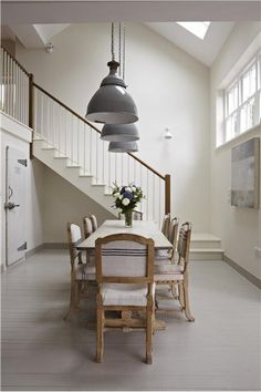 An inspirational image from Farrow and Ball. A dining room with walls in Slipper Satin Estate Emulsion and trim in Hardwick White Estate Eggshell.
