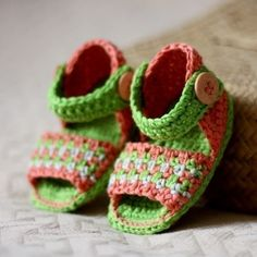 Crochet PATTERN pdf file  Multicoloured Sandals by monpetitviolon, $3.99