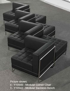 Black Tufted Modular Zig Zag Sofa - Looking for a modern, unique reception sofa? Our Black Tufted Modular Zig Zag Sofa stands out from the crowd! This sofa is pa. Modular Furniture, Furniture Deals, Cheap Furniture, Home Furniture, Furniture Design, Furniture Removal, Furniture Outlet, Furniture Stores, Floor Seating