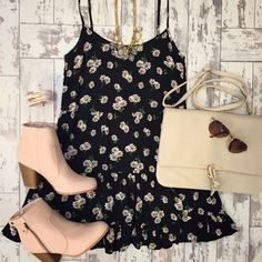 TAG A FRIEND who loves daisies! Daisy Sundress Black ($22.99) Knot Interested Clutch ($22.99) both at #sophieandtrey Burnout Blush Bootie ($38.99) now at #statements and all online!! // #ootd #daisy #sundress #style #fashion #inspo #bootie #daisies