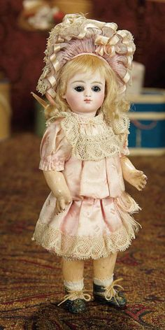 Very Rare Petite and All-Original French Bisque Bebe, Series C, 4/0, by Jules Steiner 6000/9000