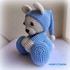 Teddy Bear Amigurumi in Blue Pyjamas
