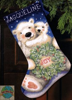 cross stitch stockings | Dimensions - Polar Bear Joy Stocking - Cross Stitch World
