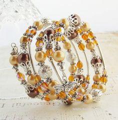 Beaded Memory Wire spiral Wrap Bracelet by whiteravendesignsau, $35.00
