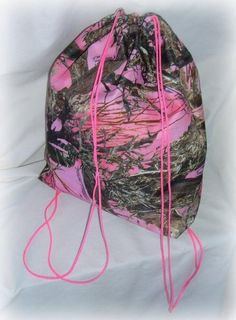 Neon Hot Pink Camo Camouflage Real Tree Breakup Drawstring Backpack Purse Tote | eBay