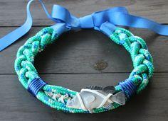Collar Fish&chic esmeralda y azulon . Exclusivo por dosTeresas