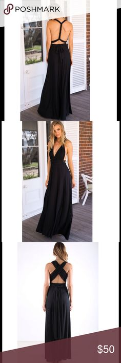 Black Convertible Maxi Dress With so many ways to wear them, it's no wonder convertible dresses are all the rage this summer! Cool and breezy, this classic black  convertible maxi will keep you looking sexy and elegant all Summer long! LOWEST PRICES ARE LISTED UPFRONT! Dresses Maxi