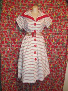 Beautiful vintage 70s does 50s white red and green stripes large collar rayon nautical bombshell pin up summer dress by Damon 2 -S M L