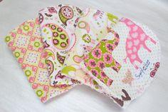 Baby Girl Burp Cloth or Bib Set of 4 Pink Paisley Animal Parade on Etsy, $36.00