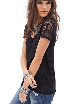 Lacy Slub Jersey Tee | FOREVER21 - 2000068712