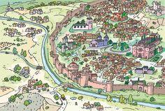 Fantásticas perspectivas de Felipe López Salán reflejando las ciudades de diferentes épocas para los libros de texto de Ciencias del Medio de 5º de Educación Primaria en Edebé.