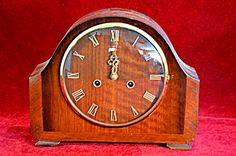 110) Vintage Smiths Enfield mahogany mantel clock with original pendulum and key