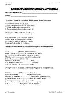 Ejercicio de sinonimos y antonimos Compassion, Ideas Para, Synonyms And Antonyms, Emotions Activities, Sweet Carts, Spanish Vocabulary, Libros