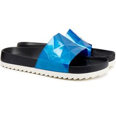 United Nude Lo Res Blue Metallic Slide Sandals ($35) ❤ liked on Polyvore featuring shoes, sandals, blue, leather sole sandals, blue shoes, slip on sandals, metallic slip on shoes and slip-on shoes