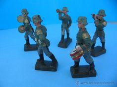 Juguetes Antiguos: Massesoldaten de Lineol. Alemania. Soldaditos antiguos. Desfile de banda militar. - Foto 4 - 54837033