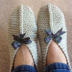 Ladies Slippers pattern by Stella Ackroyd Beginner Knitting Patterns, Knitting Stiches, Knitting Socks, Crochet Patterns, Easy Crochet Slippers, Knit Slippers Free Pattern, Crochet Shoes, Ladies Slippers, Womens Slippers