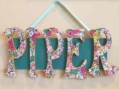 Baby name sign by Kim's Krafts on Facebook