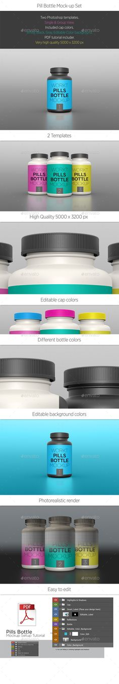 Pills Bottle Mockup by workt Infinite Cap Colors   Black Prerendered Color Added Great for Dark and Bright Designs PDF Tutorials Included Click for High-Resolu