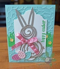 Once again, I found that the Swirly Scribbles Thinlits could be arranged into something cute and seasonal! This time - a sweet bunny. The two smaller swirls from the collection make up the bunny's head and body, and each ear is trimmed from a long wavy piece. I used a few of the Basket Bunch dies to make the eggs, and I added a retired greeting to make this into an Easter card. It could just as easily be a spring card with any of the other accessories in the Basket Bunch bundle. I have...