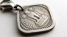 India Zipper charm Hindu charm Vintage charm Coin by CoinStories