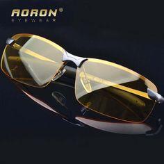 Polarized Sunglasses Night Vision Goggles men's Driving Glasses Anti-glare Gray/Black Alloy Frame glasses Yellow Lens Sunglasses #Affiliate