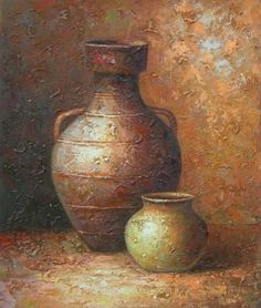 Wall Art finished in USA History: Pottery Still Life is a hand finished canvas oil painting. Like the texture of the hand crafted pottery just spilled out onto the entire surface of this canvas art, a Still Life Oil Painting, Oil Painting On Canvas, Canvas Art, Still Life Art, Pottery Painting, Cool Paintings, Painting Techniques, Art Oil, Painting Inspiration