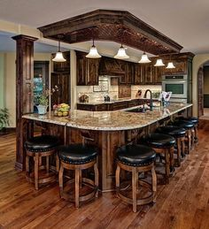 Rustic Kitchen Ideas - Rustic kitchen closet is an attractive mix of country home as well as farmhouse decoration. Browse 30 ideas of rustic kitchen design below Rustic Kitchen Cabinets, Rustic Kitchen Design, Home Decor Kitchen, New Kitchen, Home Kitchens, Kitchen Ideas, Kitchen Bars, Rustic House Design, Rustic Kitchens