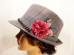 Plaid Fedora with Chain Flower and Butterfly by TheBillyBeads, $35.00
