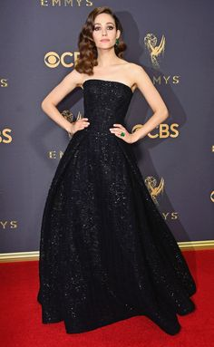 EMMY ROSSUM in Zac Posen gown with emerald jewelry by Lorraine Schwartz. 2017 Emmy Awards... love her make-up!!!